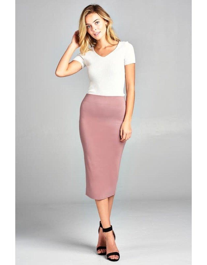 Wood Pink Midi Pencil Skirt