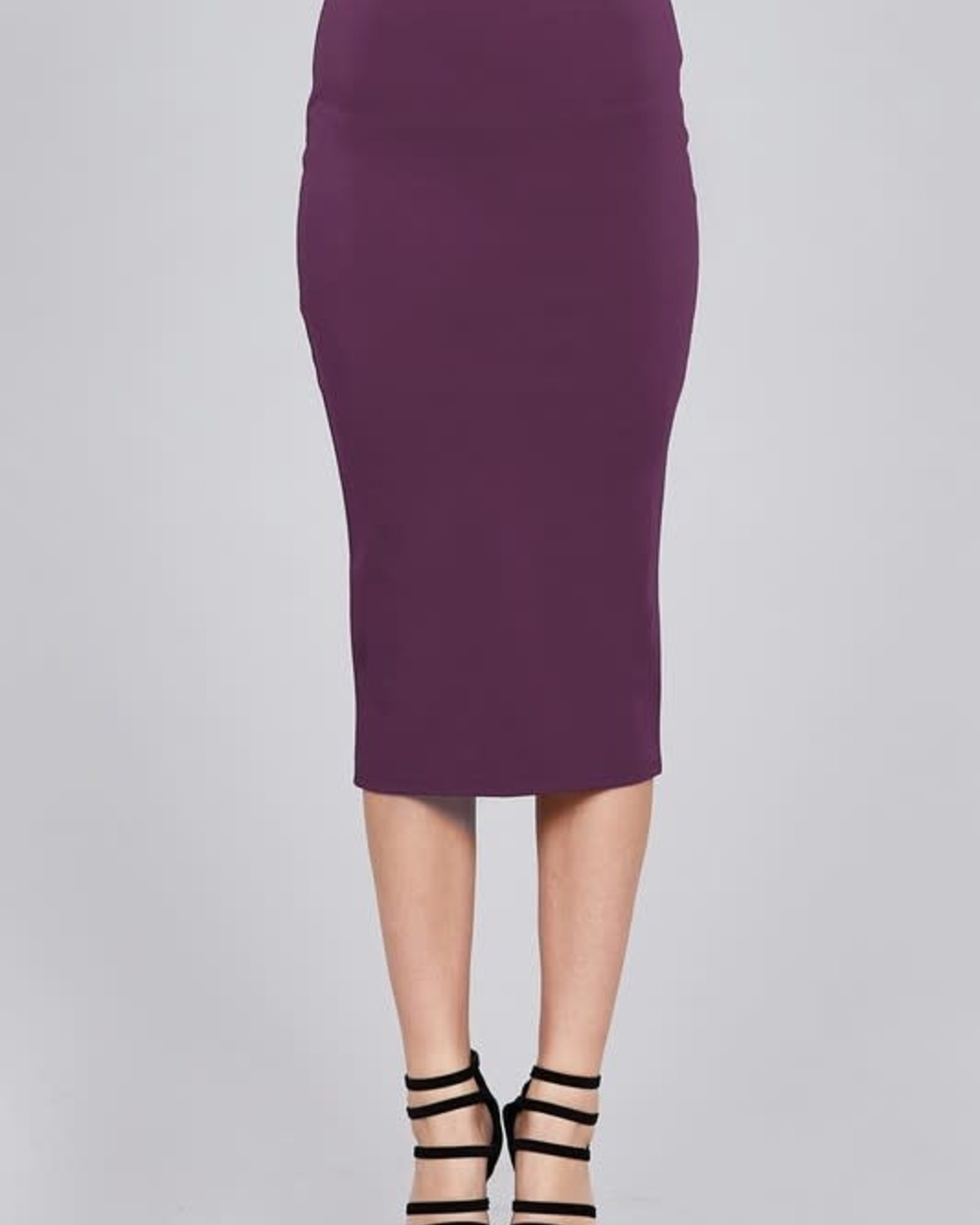 Dark Purple Midi Pencil Skirt