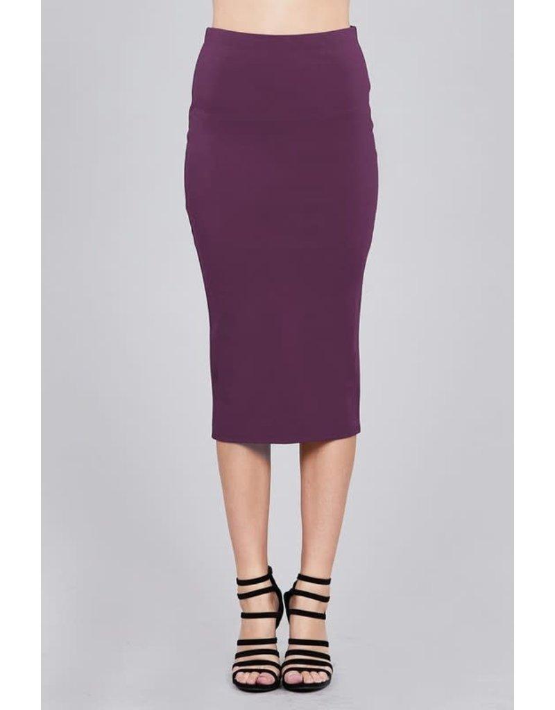 Dark Purple Midi Pencil Skirt