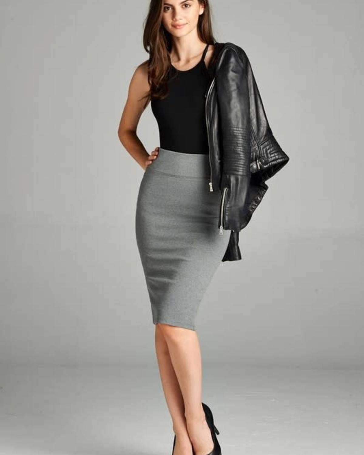 Heather Grey Bold Midi Pencil Skirt