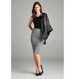 Heather Grey Bold Midi Pencil Skirt