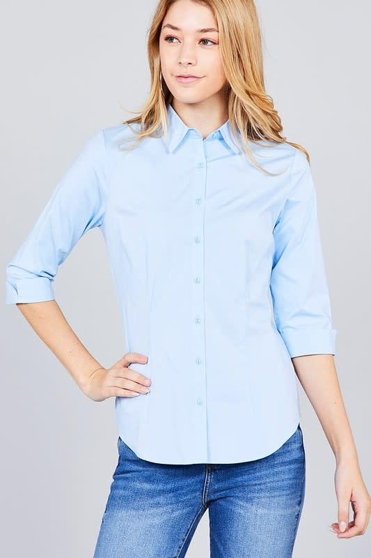 Blue Buttoned Collar Shirt