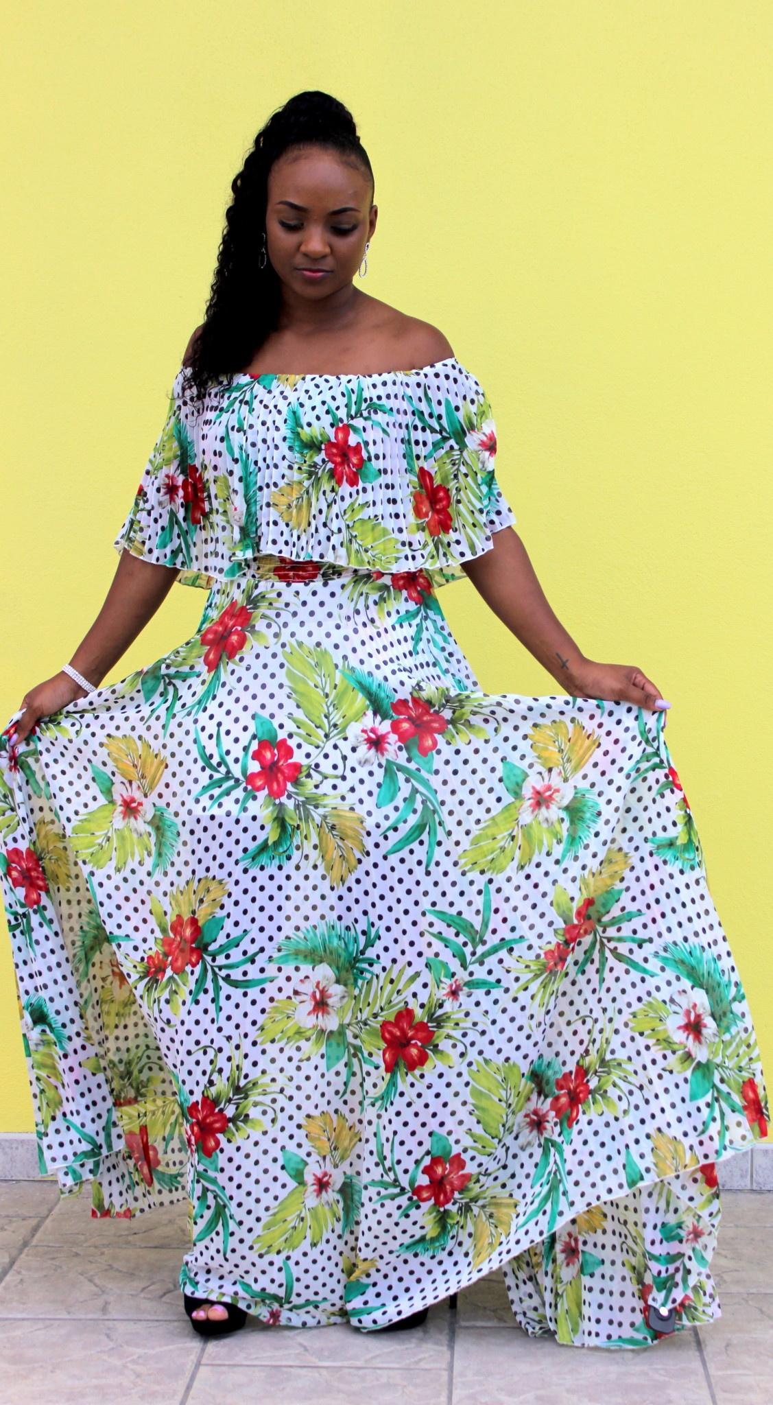 Lost In The Tropics Maxi Dress White
