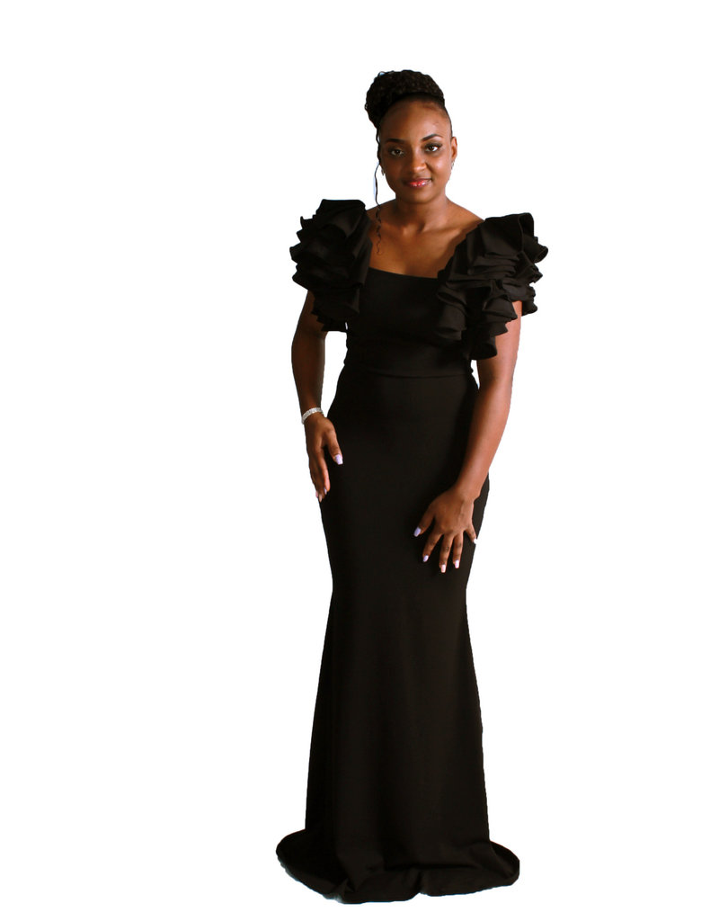 Night Is Young Ruffle Maxi Dress