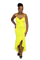 Sweet Lies Ruffle Maxi Dress Lime