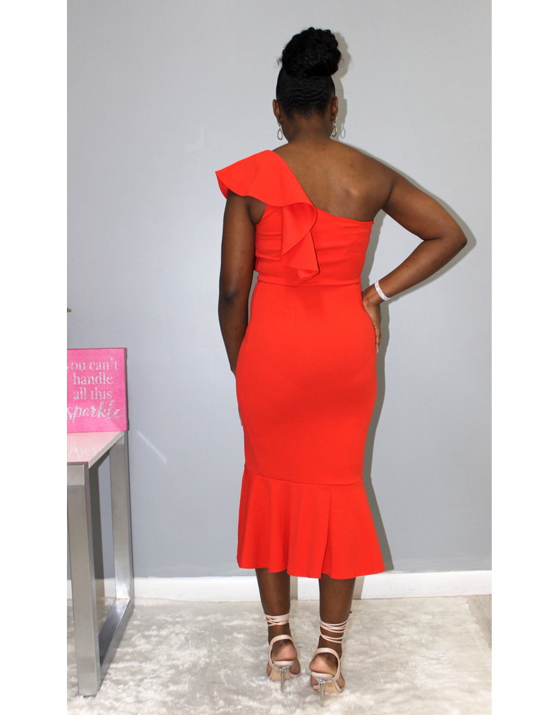 Waiting For You One Shoulder Dress Coral