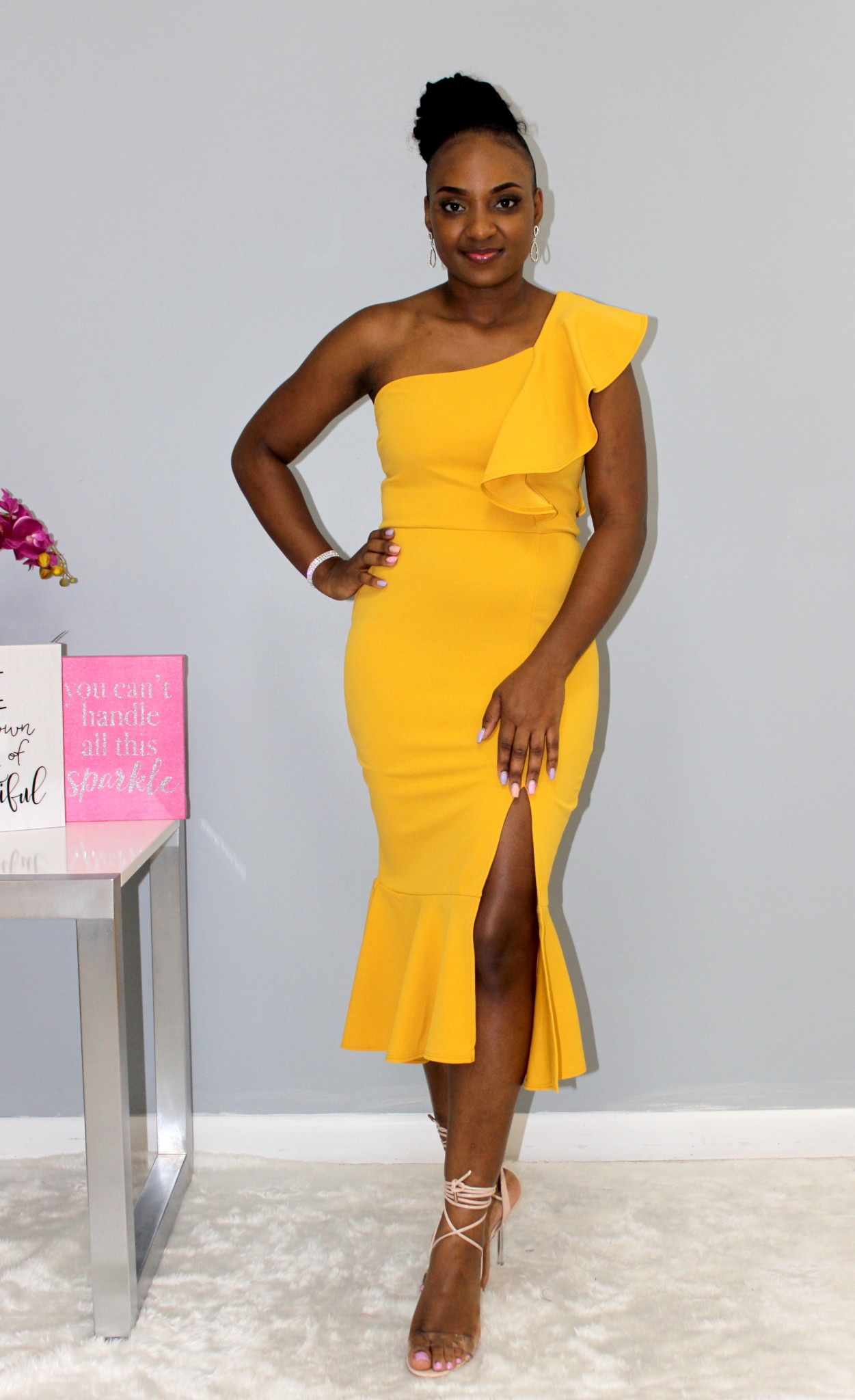Waiting For You One Shoulder Dress Mustard