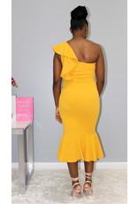 Waiting For You One Shoulder Dress Mustard