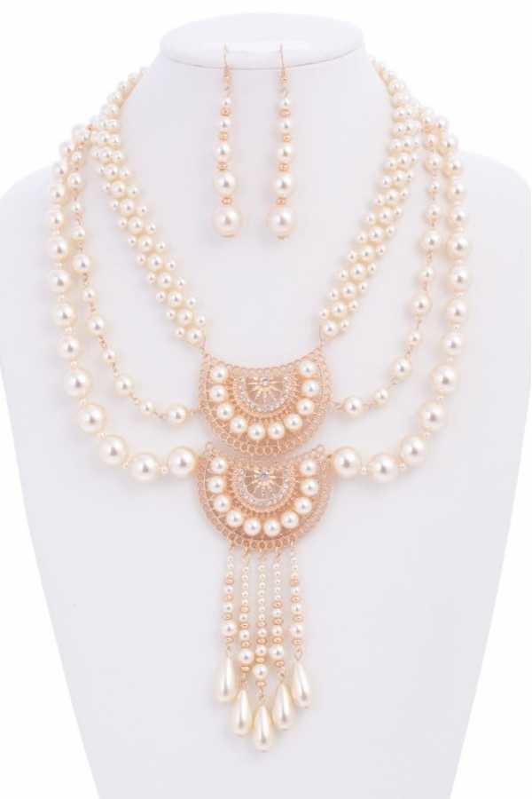 Vintage Feel Pearl Necklace Set