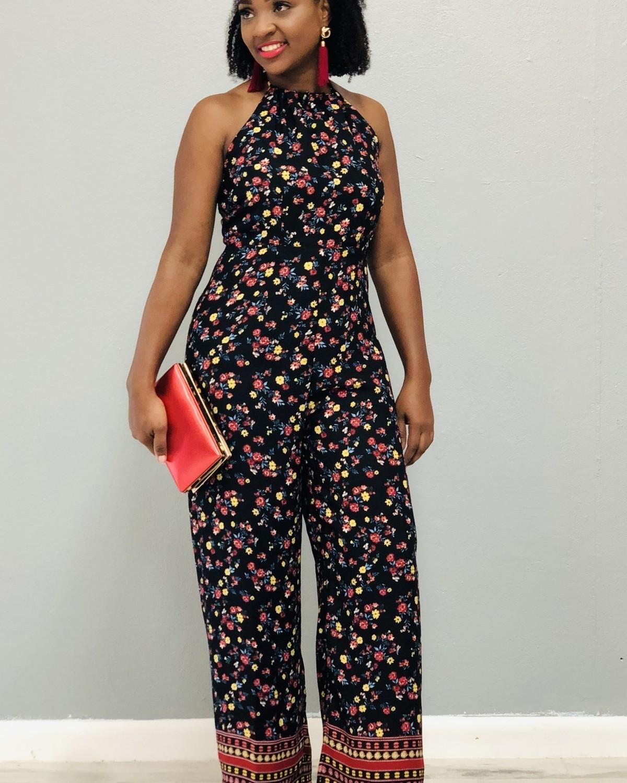 Blossom Bright Jumpsuit Black