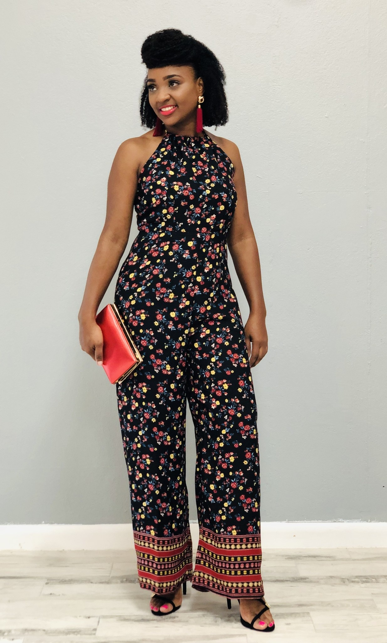 Blossom Bright Jumpsuit Black