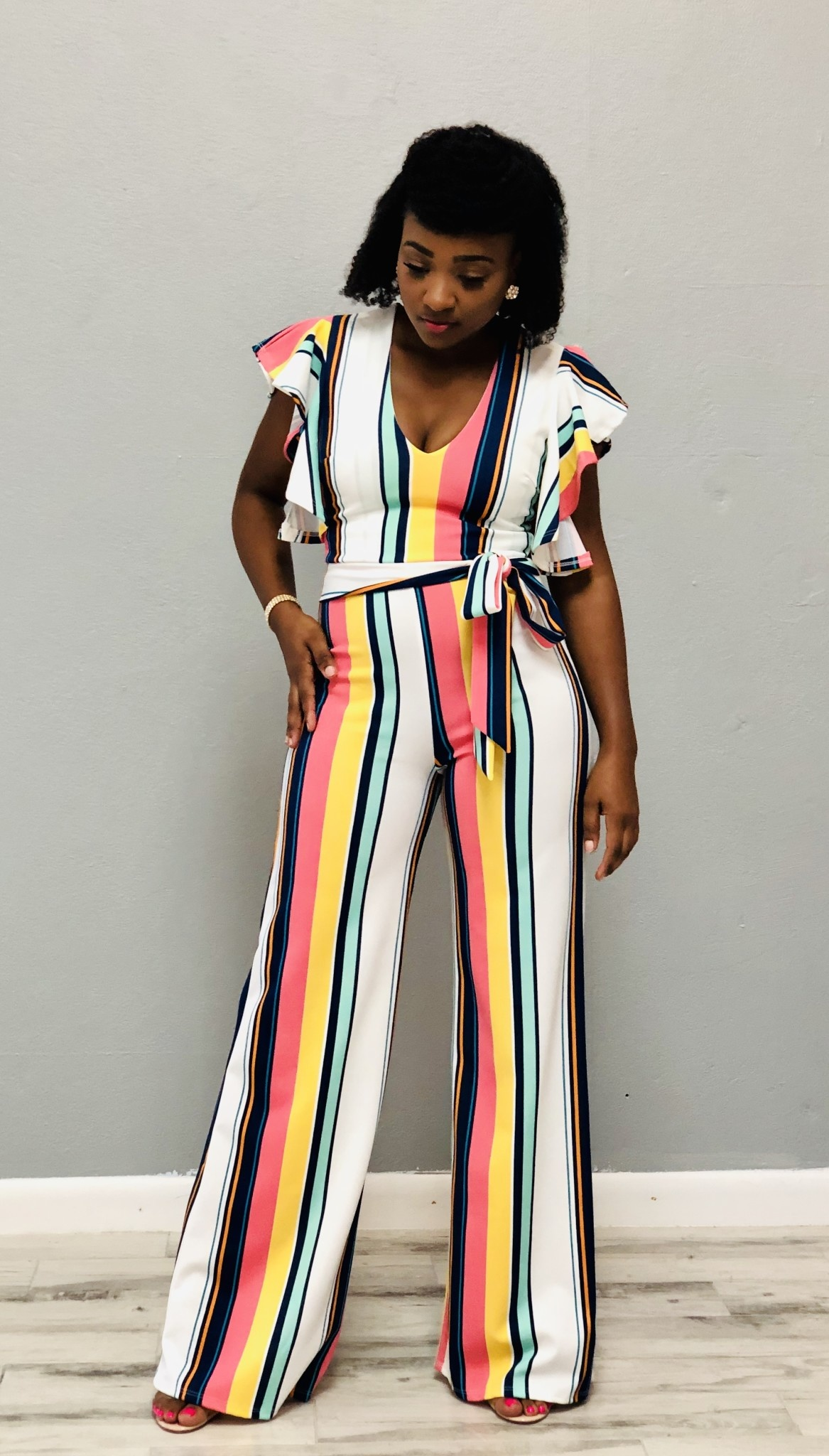Cool Colada Striped Jumpsuit