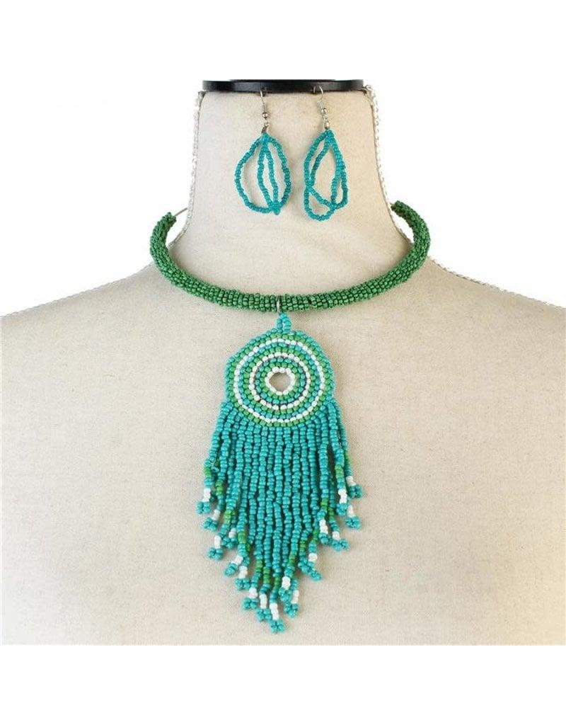 No Fear Tassel Necklace Set