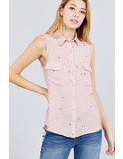 Starry Night Collared Top Mauve