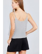 Up & Down Striped Top White