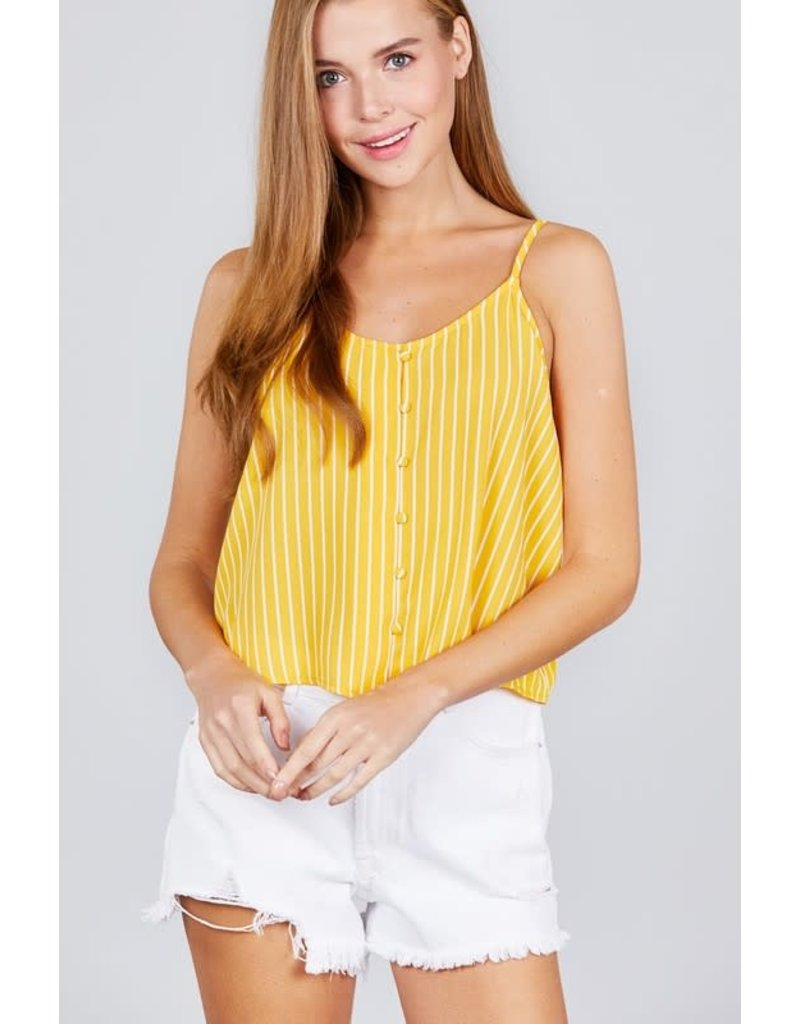 Up & Down Striped Top Yellow