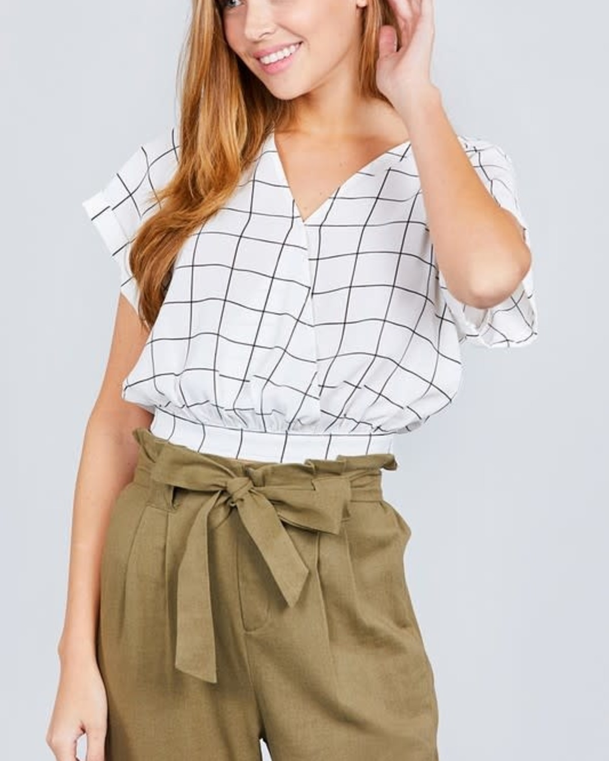 Grid Lock Crop Top Off White