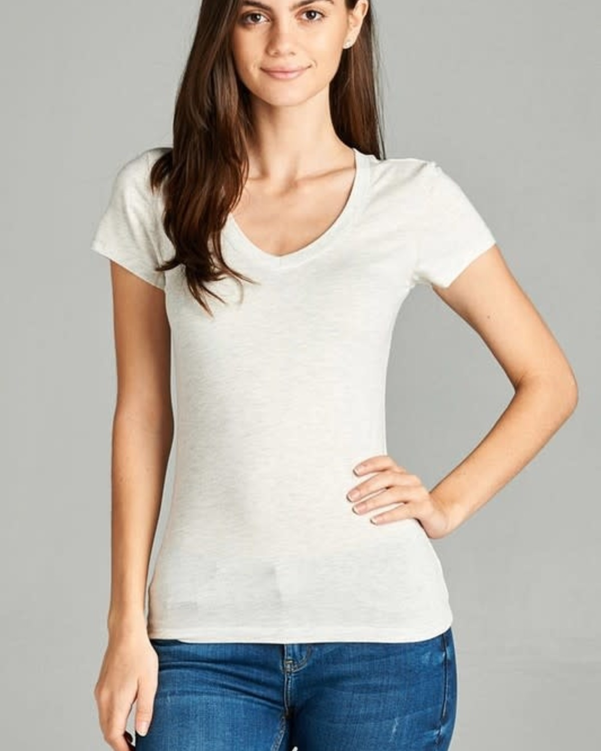 Oatmeal V Neck T-Shirt