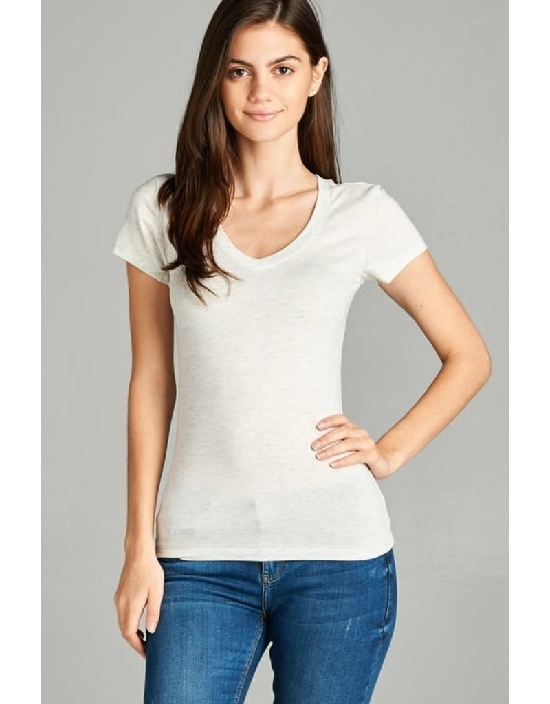 Oatmeal V Neck T-Shirt