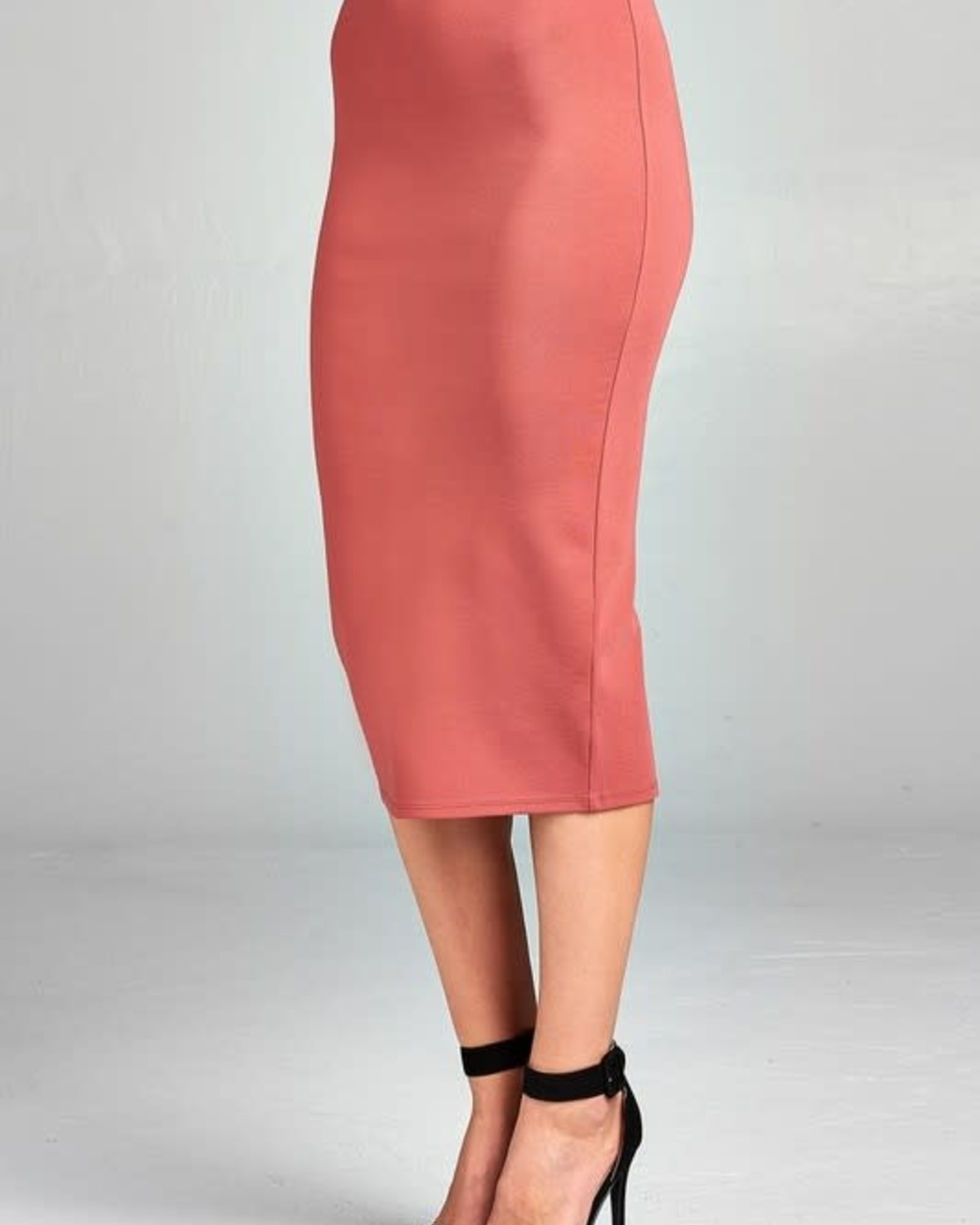 Dark Salmon Midi Pencil Skirt