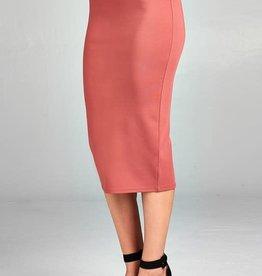 Dark Salmon Midi Pencil Skirt