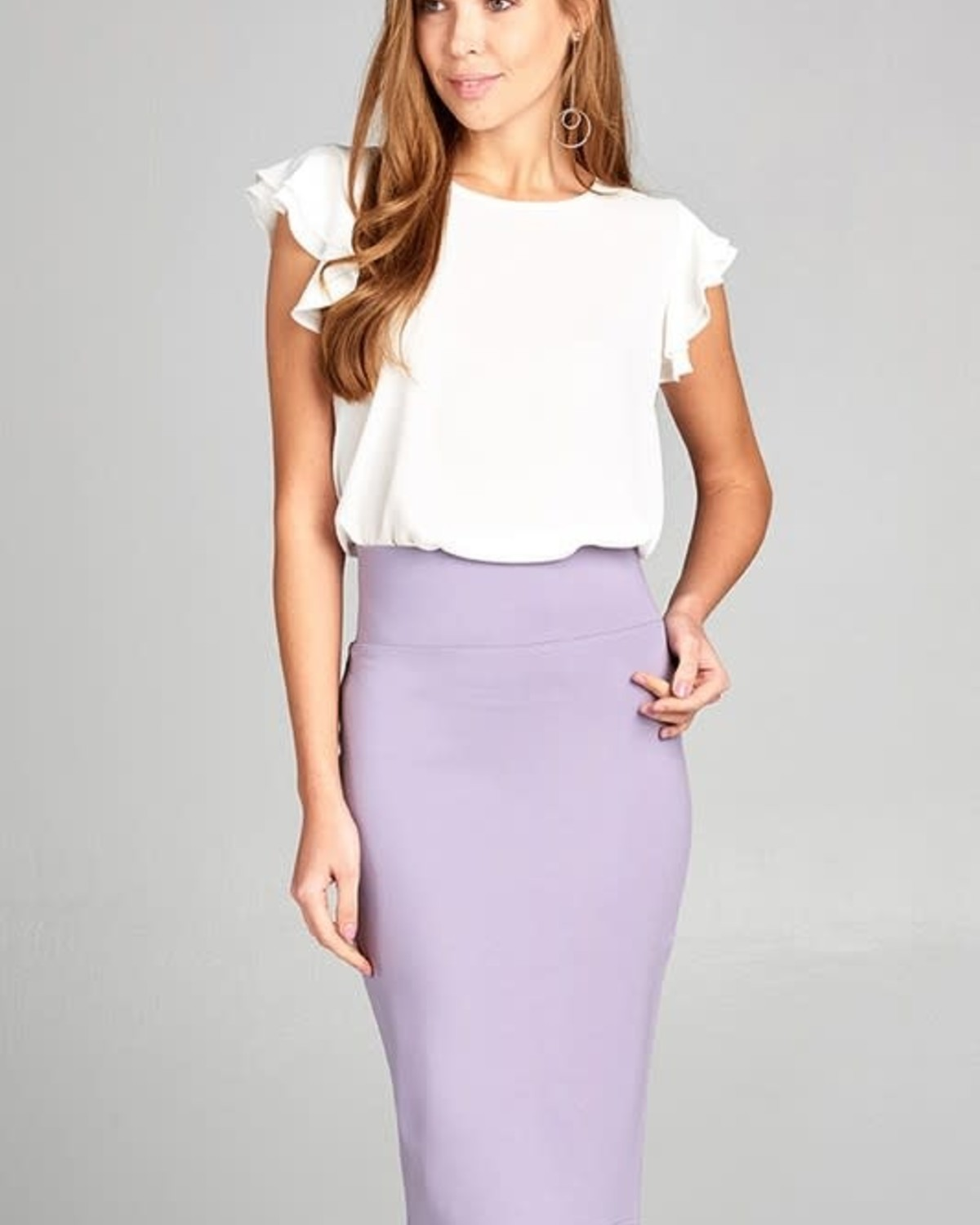 Lavender Bold Midi Pencil Skirt