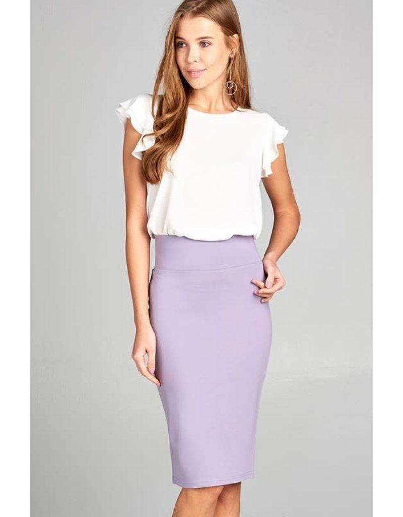 Lavender Bold Midi Pencil Skirt