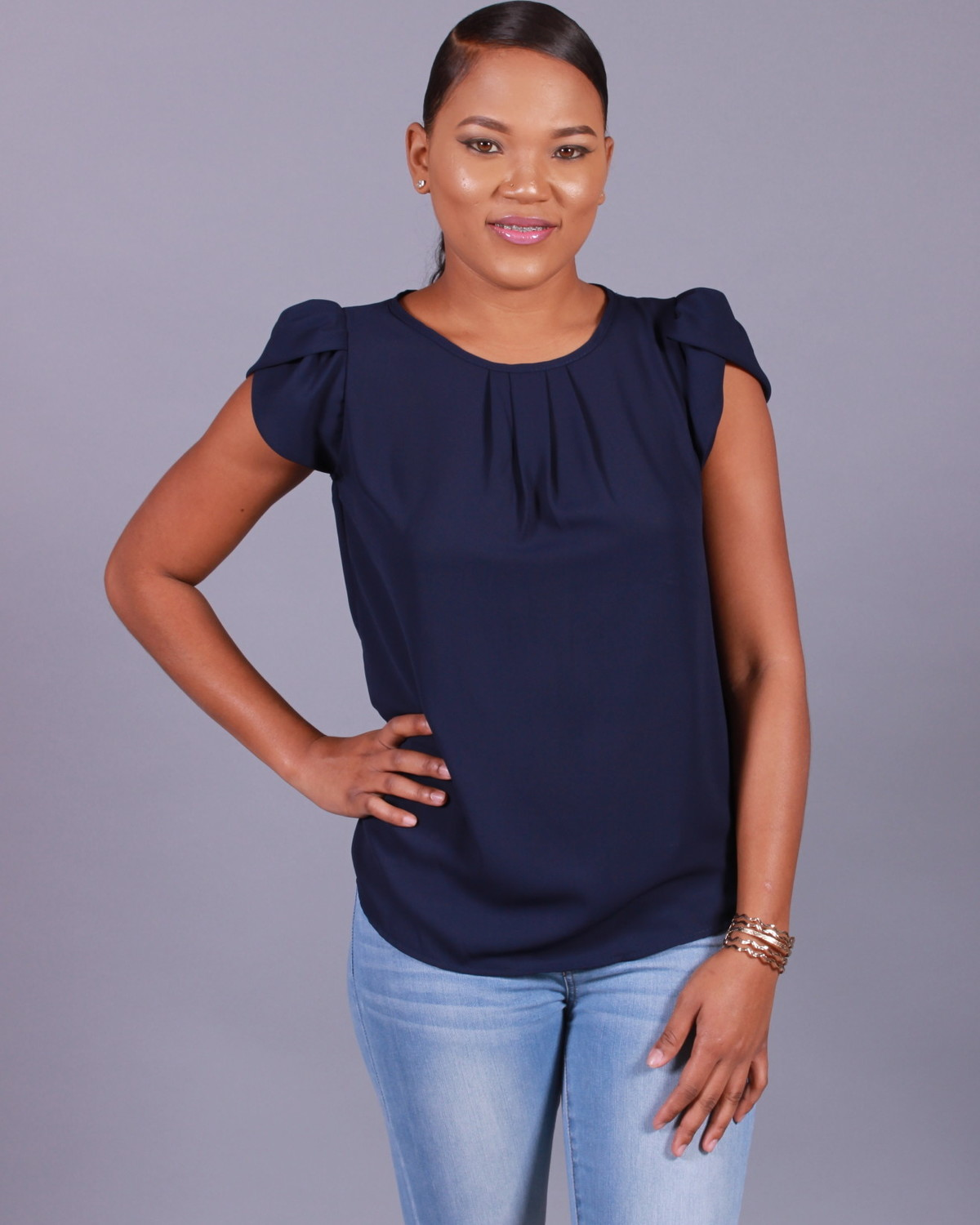 Navy Tulip Sleeve Top