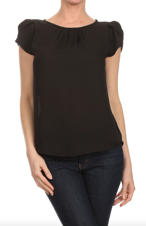 Black Tulip Sleeve Top