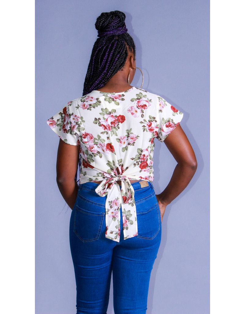 Floral Portrait Top Taupe