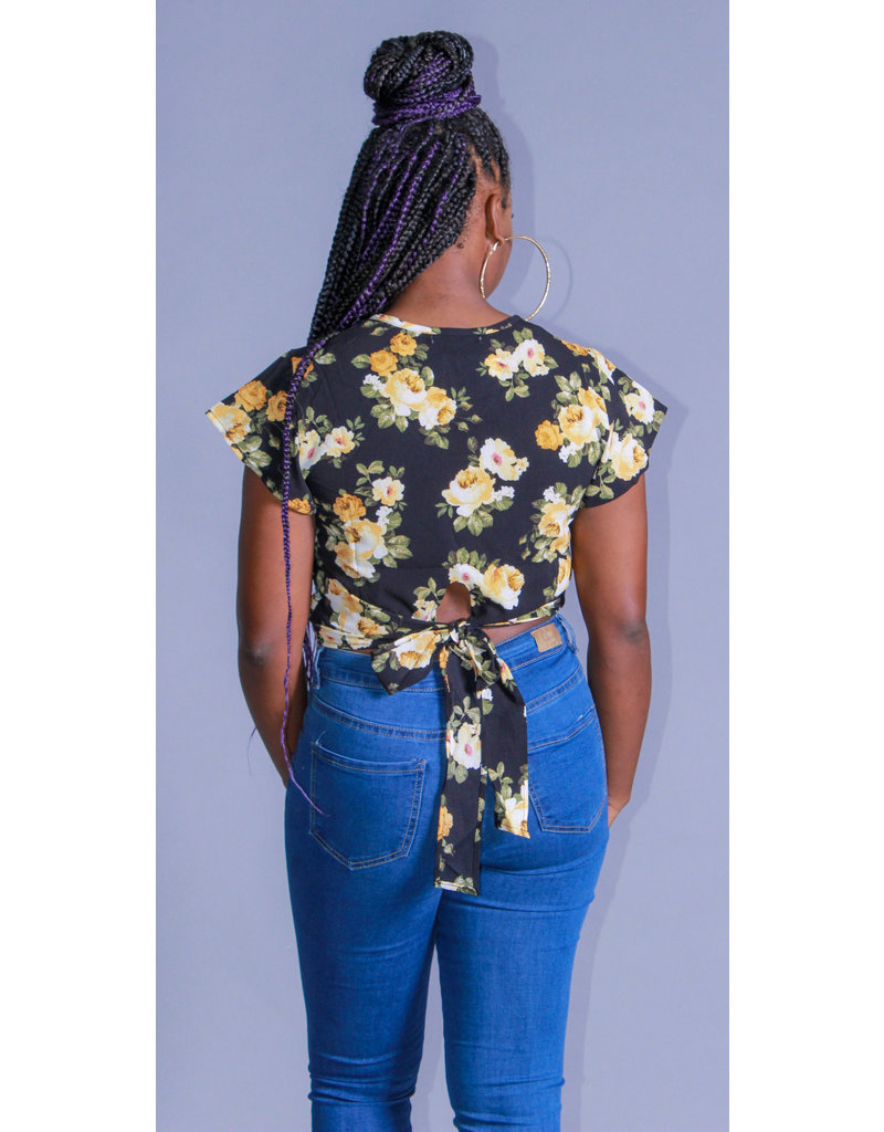 Floral Portrait Top Black