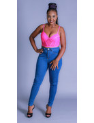 Taking Chances Bustier Crop Top Hot Pink