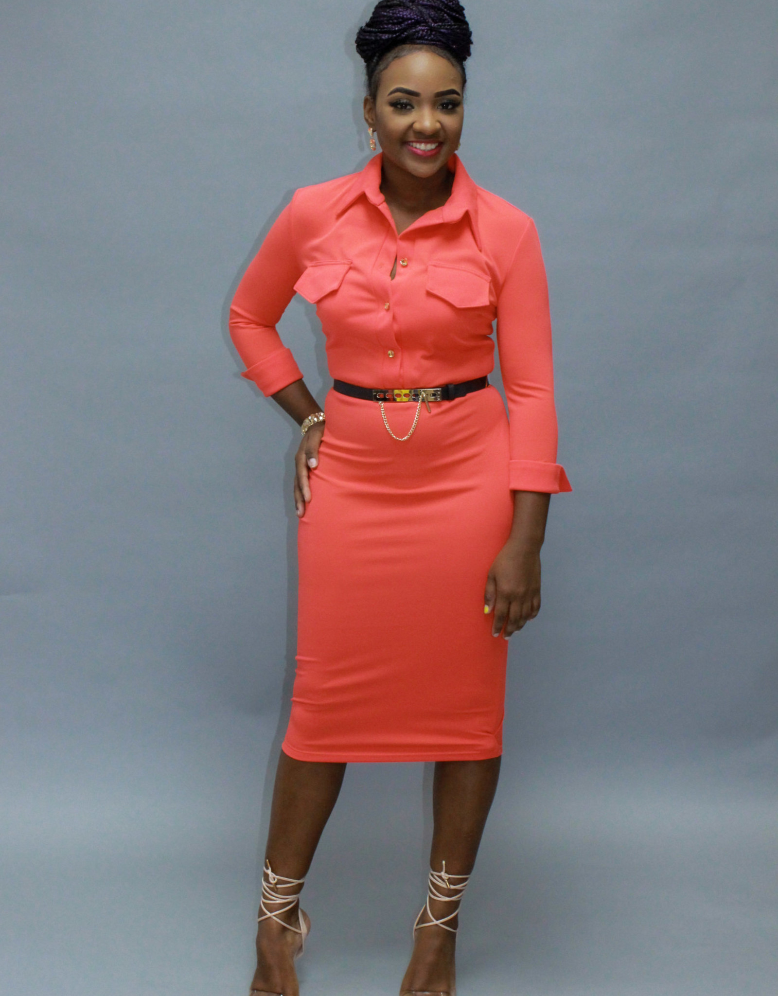 Be Present Belted Dress