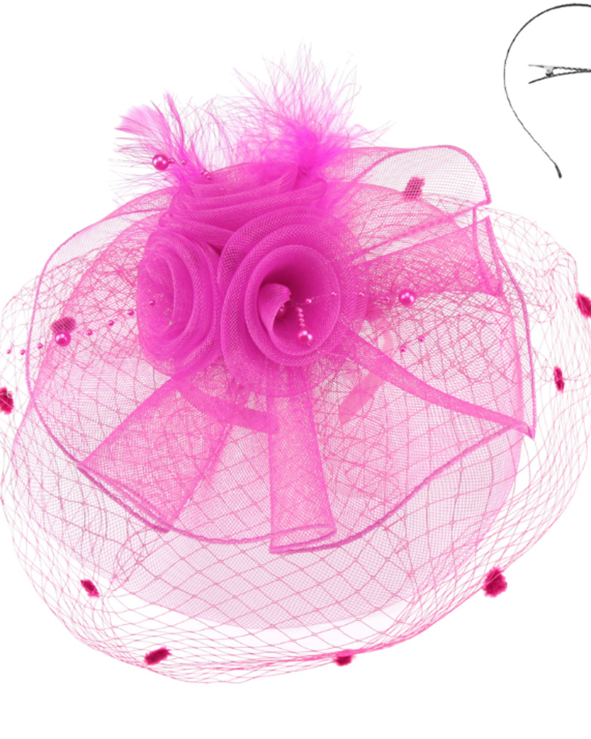 Pearl Dreams Fascinator Fuchsia