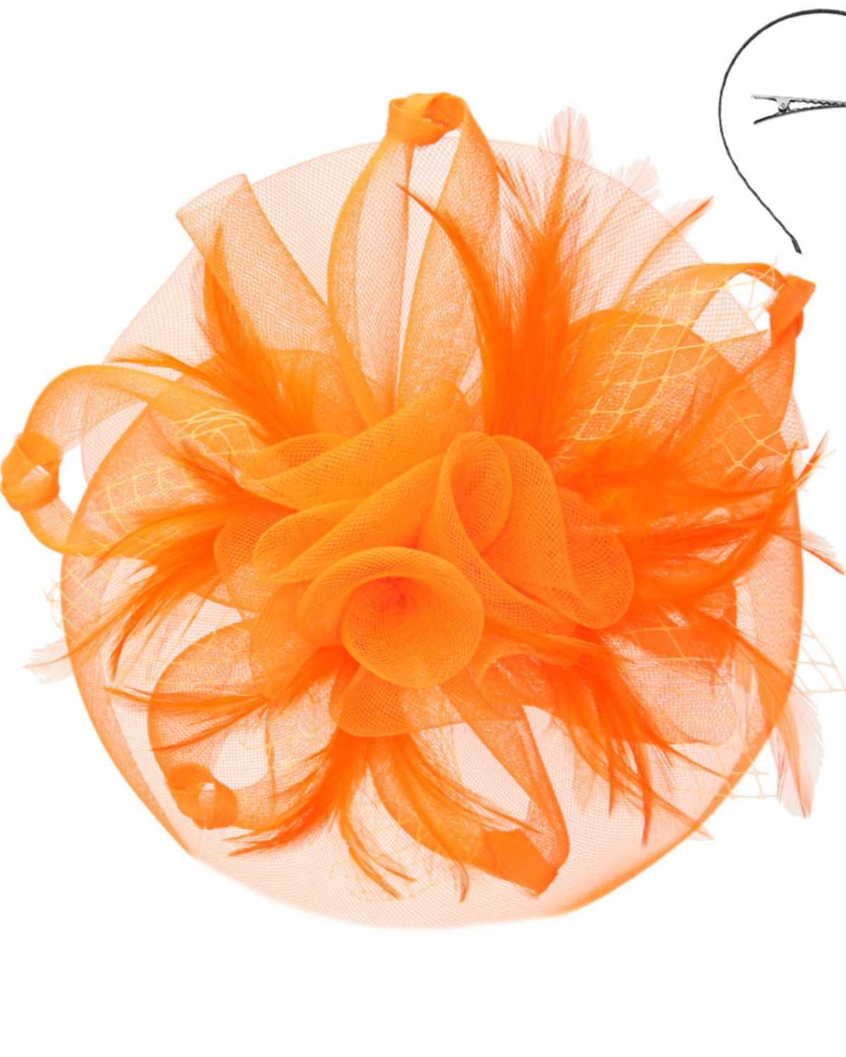 Twist Of Glory Fascinator Orange