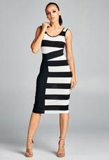 Black Out Striped Bodycon Dress