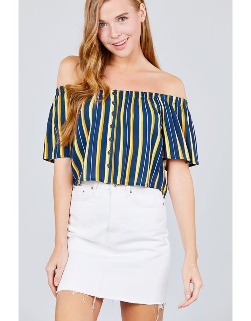 By My Side Striped Top Navy