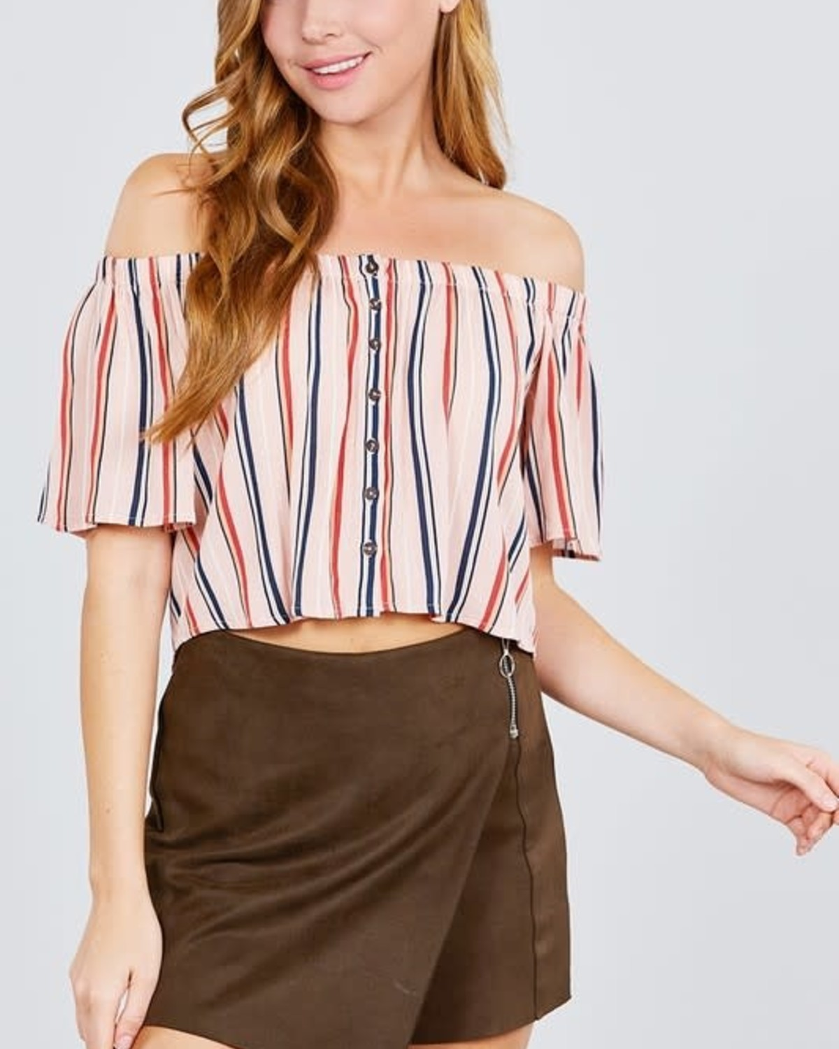 By My Side Striped Top Mauve