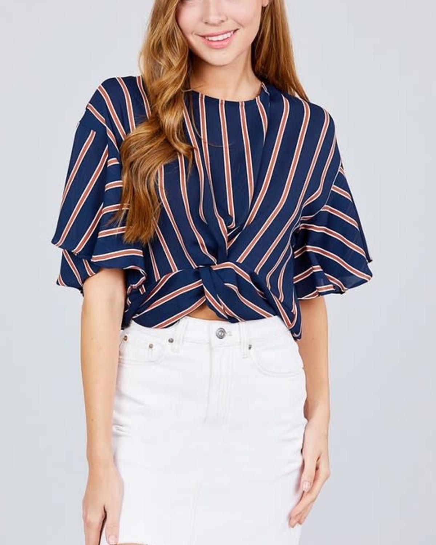 Twist & Stripes Top Navy