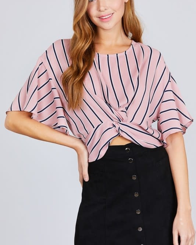 Twist & Stripes Top Mauve