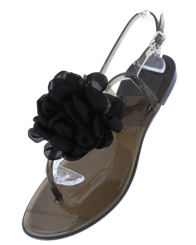 Flower Pop Jelly Sandals Black