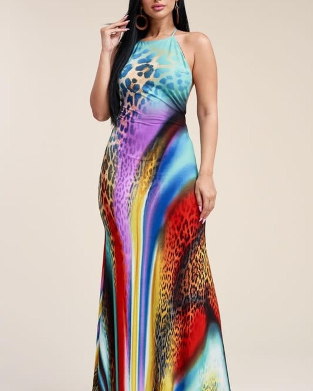 Born Free Leopard Maxi Dress