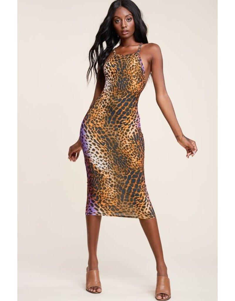 Take A Look Leopard Midi Dress