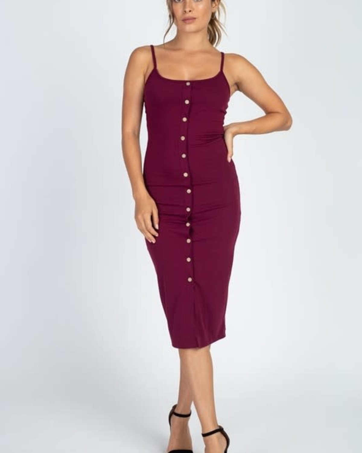 Totally Snapped Bodycon Dress Burgundy