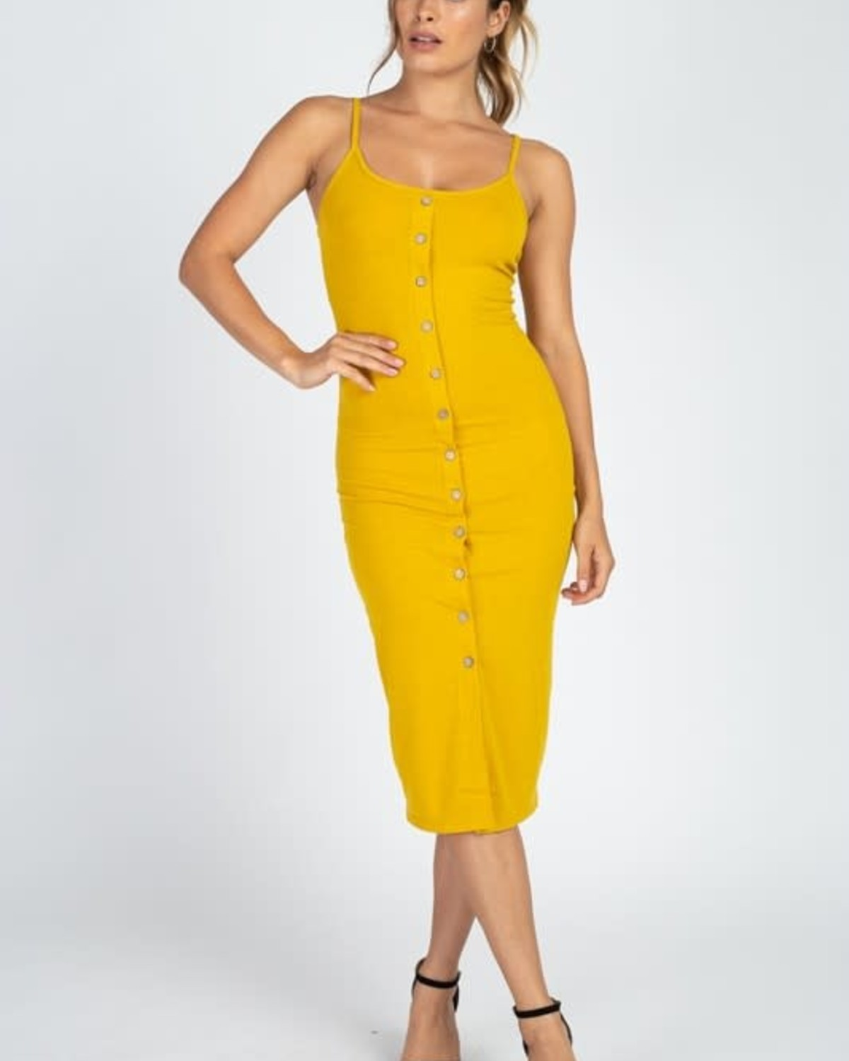 Totally Snapped Bodycon Dress Mustard