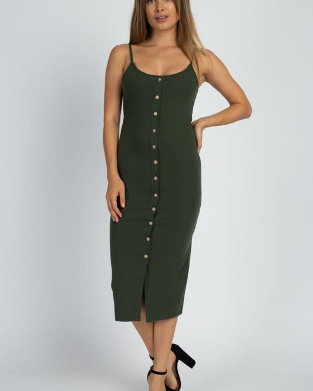 Totally Snapped Bodycon Dress Olive