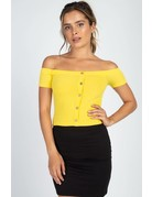 Cold Shoulder Top Yellow