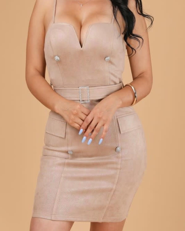 Button Me Pretty Rhinestone Bodycon Dress