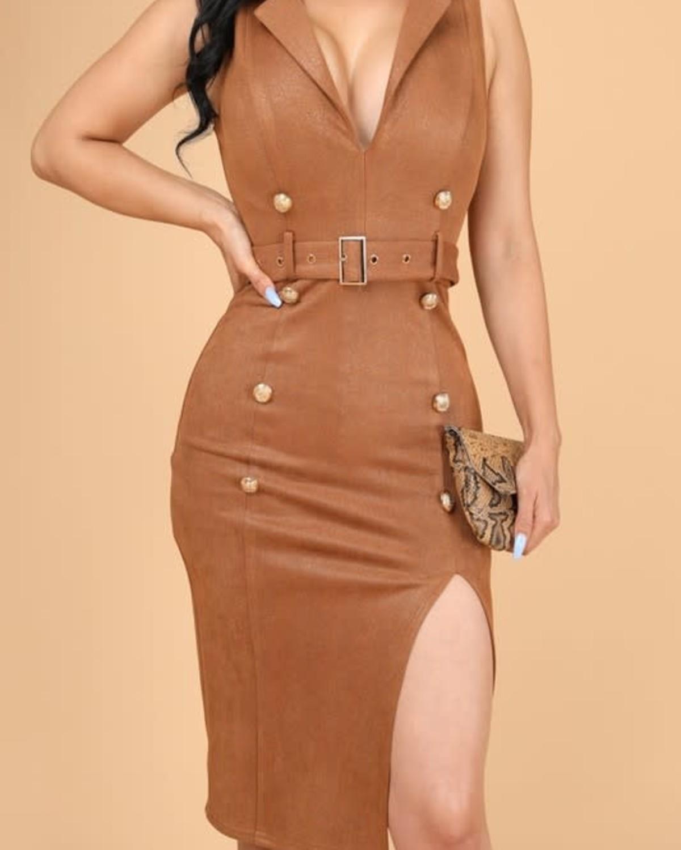 Hey Hot Stuff Belted Midi Dress