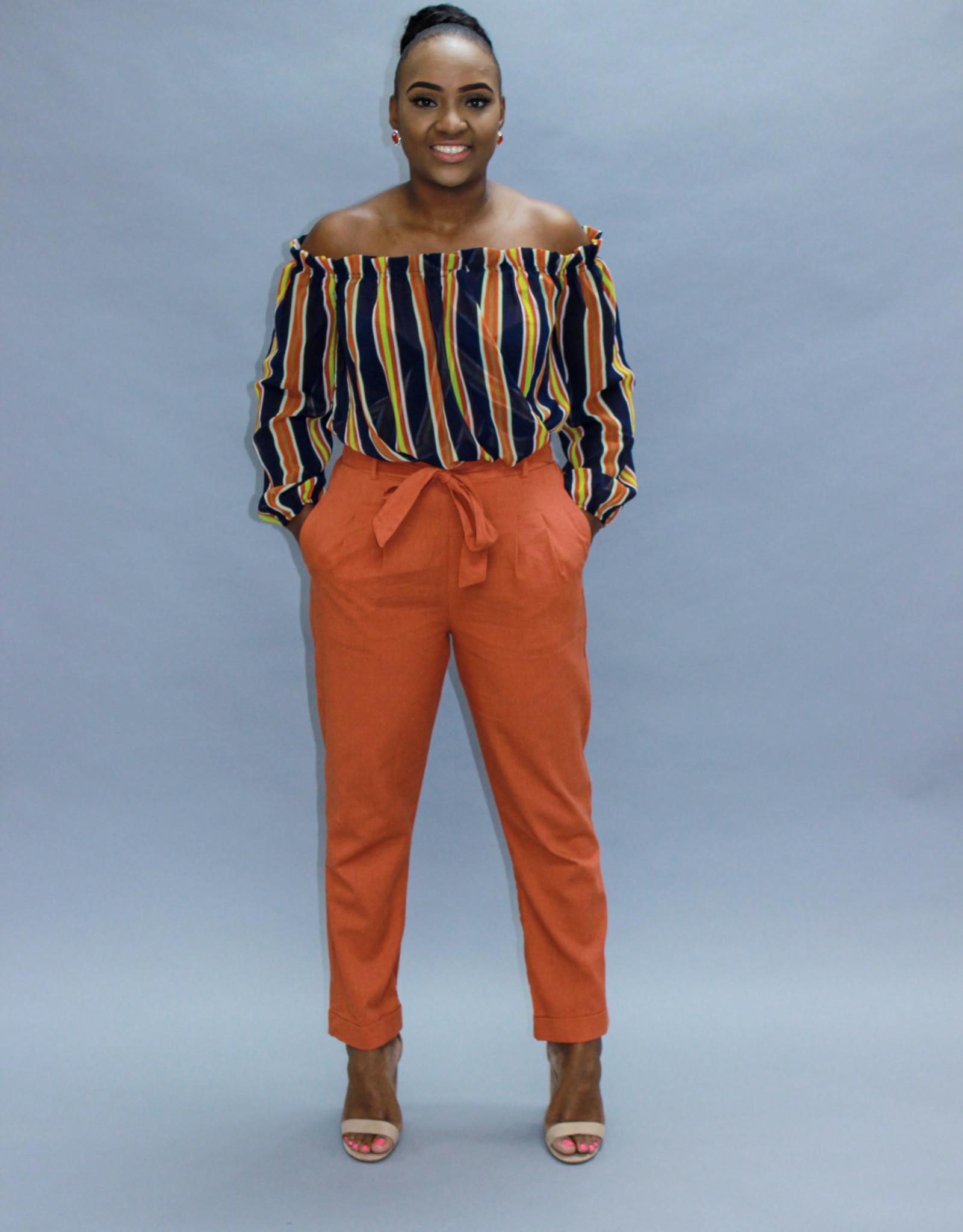 Blown Away Linen Pants Rust